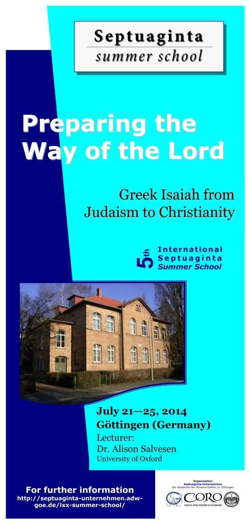 Septuaginta Summer school 2014, première page du flyer